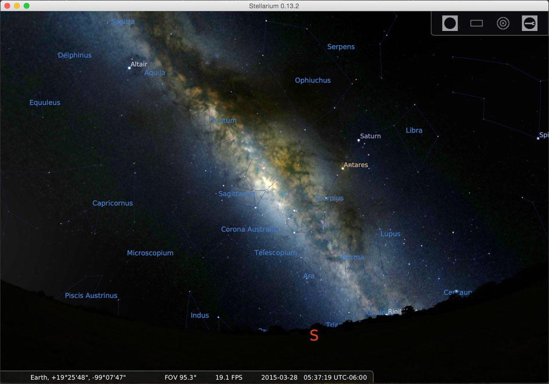 Voici une capture d'écran du logiciel stellarium pour ordinateur