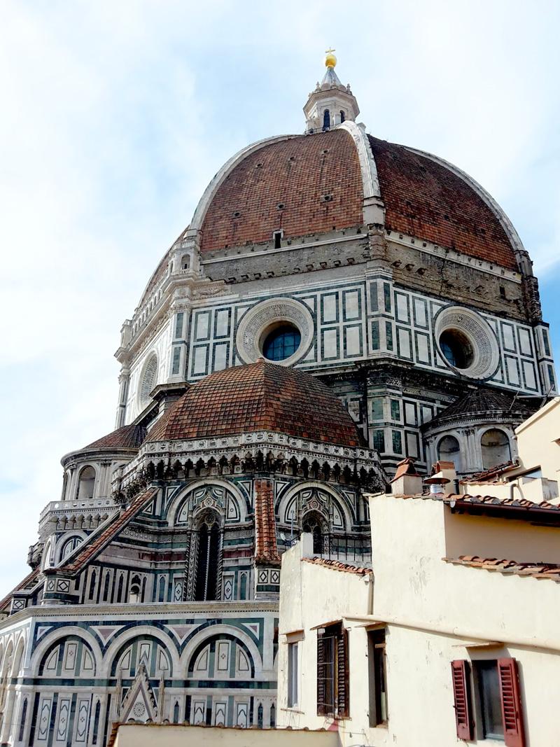 La cupola vista dalla terrazza sul tetto del Grande Museo del Duomo