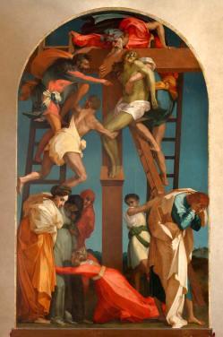 Rosso Fiorentino, Deposizione dalla croce 1521, olio su tavola, cm 343 x 201. Volterra, Pinacoteca e Museo Civico