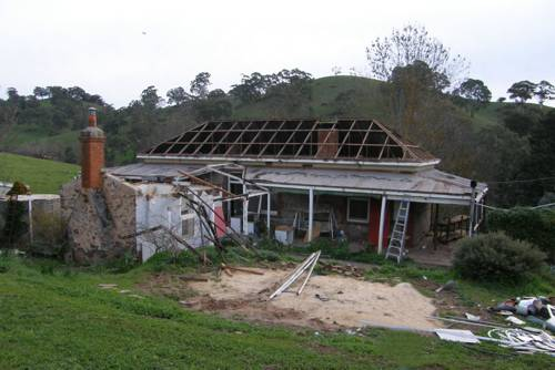 demolishing the original house, it was sad to see it go, 2008