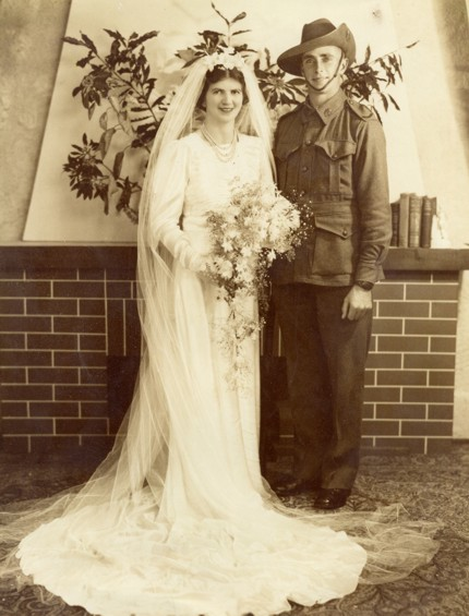 Evelyn Randell and Cecil Hannaford wedding, studio portrait. Married on 31 May 1941