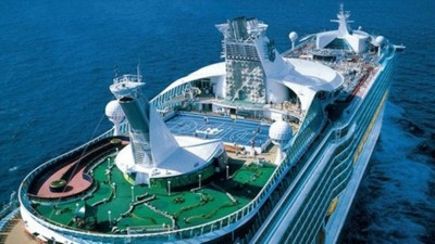 the Voyage of the Seas cruise ship, and yes, that is a golf course on the ship!