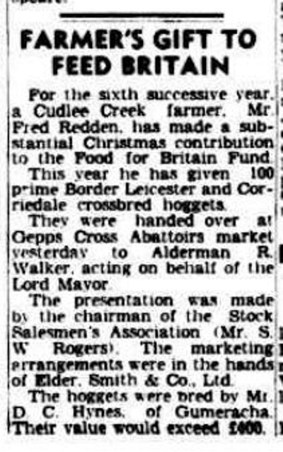 FARMER'S GIFT TO FEED BRITAIN. (1950, December 21). The Advertiser (Adelaide, SA : 1931 - 1954), p. 3. Retrieved December 24, 2013, from http://nla.gov.au/nla.news-article45676403