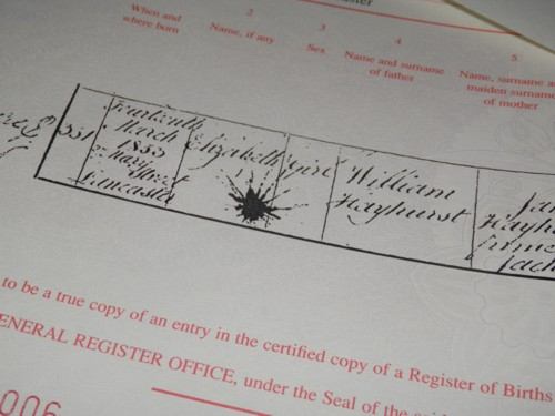 certificate with ink blotch