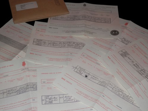 my stash of Hayhurst family certificates that arrived today