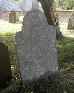Elizabeth Randle's headstone at Berry Pomeroy church, Devon (click for a larger image)