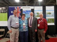 Dick Eastman, Cyndi Ingle, Paul Milner and Alan Phillips at the Unlock the Past Cruises stand at RootsTech 2015