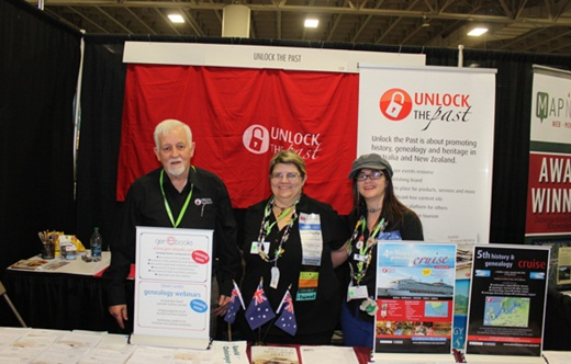 the Unlock the Past Cruises stand at RootsTech in 2013:Alan Phillips, Helen Smith and me (Alona Tester)
