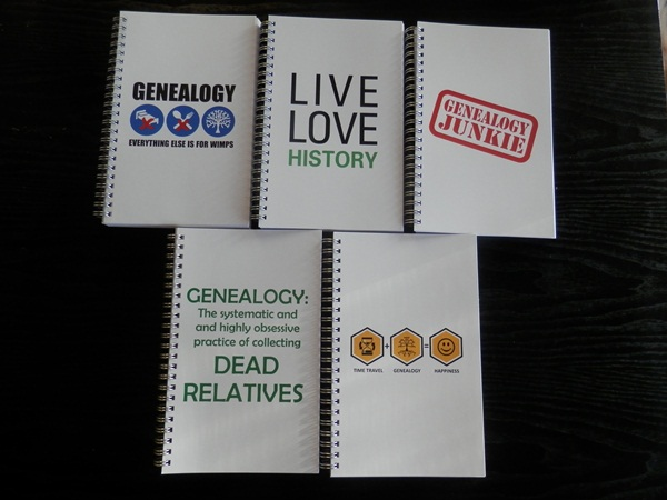 Genealogy notebooks at Cafepress