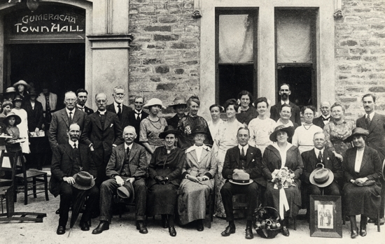 Official Party at the Gumeracha District Soldiers Memorial Hospital opening, July 1922 Standing L-R: S. Kitto, V. Lee, Rev. Bridgwood, Ben Cornish, Elliott Hannaford, Lyn Dohnt, Mrs W.H. Cornish, Mrs J. Hynes, Mrs T. Tidswell, Mrs Schrader, Mrs Lemmey, Miss Elsa Bridgwood, J.B. Randell, Mrs Ted Clarke, Mrs Rob Moore, Mrs Wood, Mrs Finch, Dr Hall Sitting L-R: Jasper Porter, Jack Hynes, Mrs W.J. Hannaford, Mrs J. Porter, Sir Arnold Moulden, Lady Moulden, W.J. Hannaford, Miss Hall