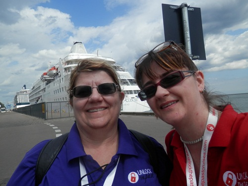 selfie time, myself with Helen, with two ship in the background. Ours was the one further away