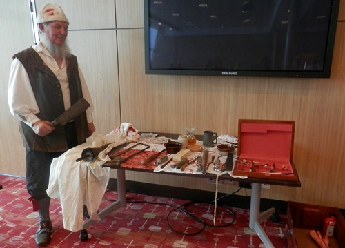 Master Christopher, with his 17th century barber surgeon's instruments