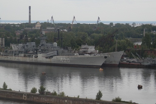 old naval ships at Kronstadt, Russia
