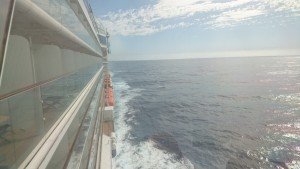 view backwards from the bridge of the Celebrity Solstice