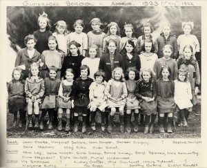 the girls at Gumeracha Primary School, 1922. Evelyn in at the front and on the right hand end
