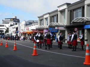 the Scottish Pipe Band competition was on, on the day we were in Dunedin