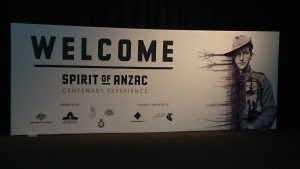 the welcome sign, Spirit of Anzac Centenary Experience