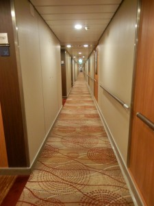 one of the many, many very, very long hallways onboard