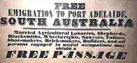 Emigration from England to South Australia in the 1800s