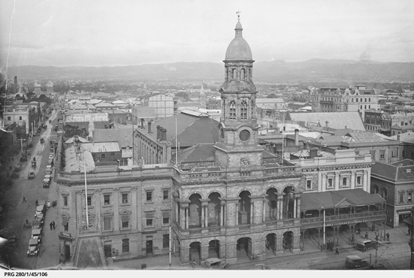 Adelaide Town Hall, 1923 Source: State Library of South Australia, PRG 280/1/45/106