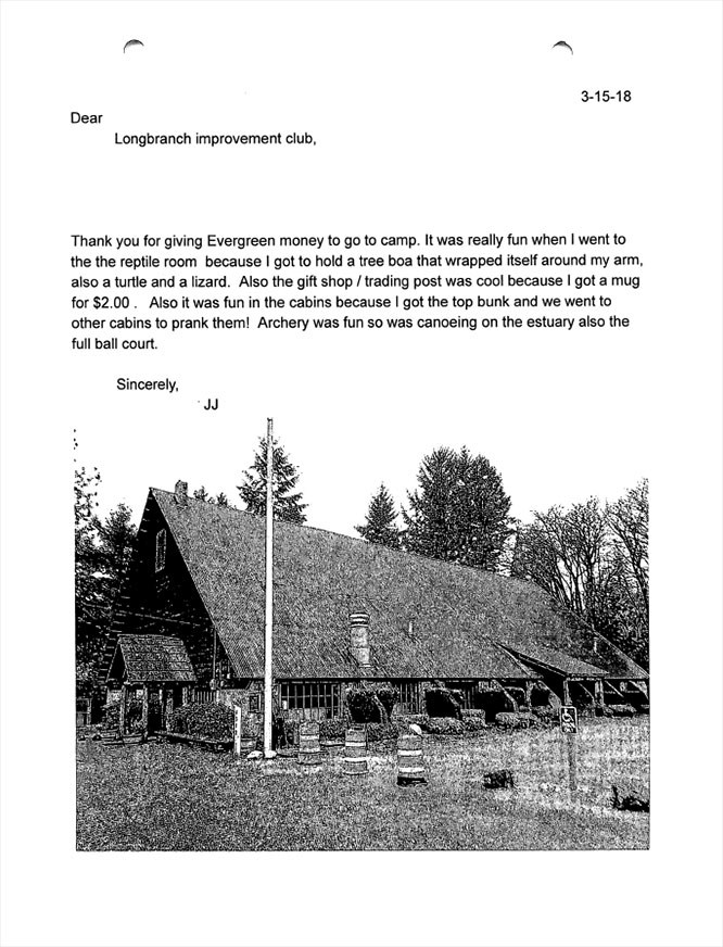 Evergreen Elementary 5th graders thank you letters JJ