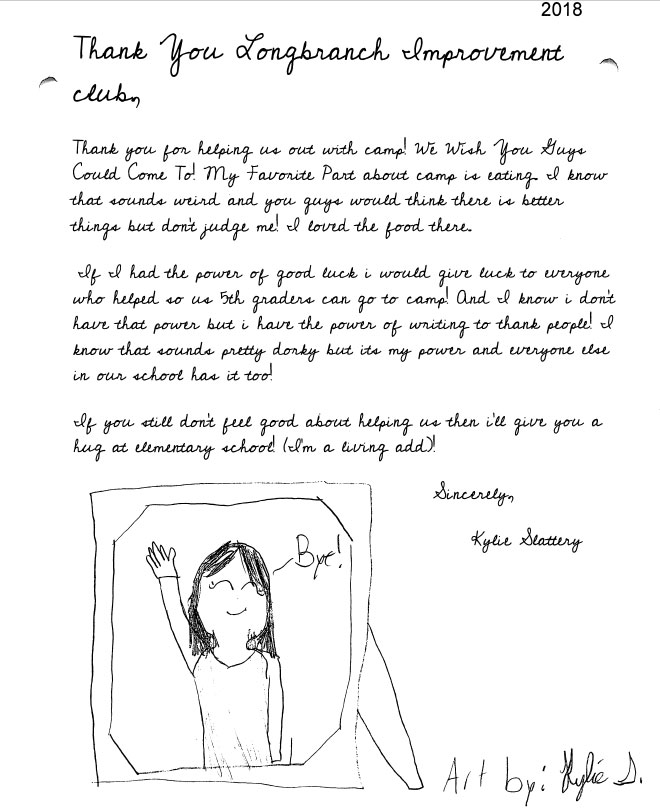 Evergreen Elementary 5th graders thank you letters Kylie Slattery