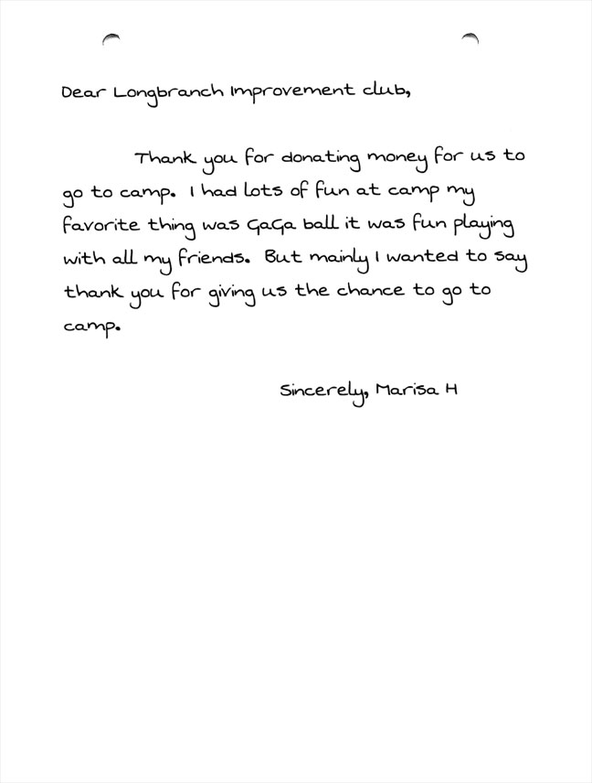 Evergreen Elementary 5th graders thank you letters Marisa H