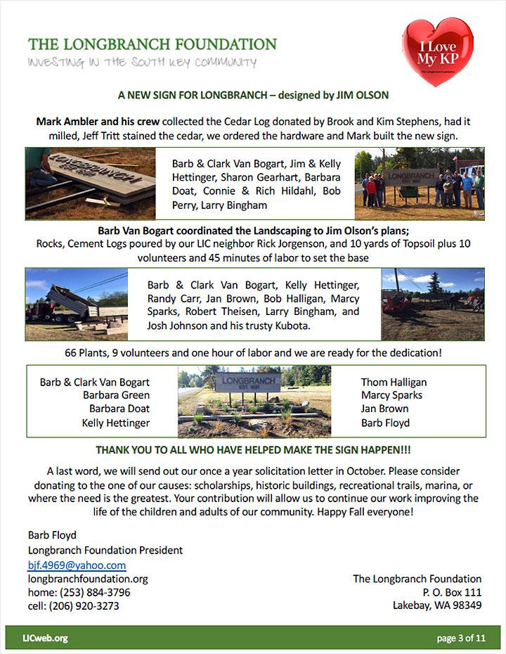 Longbranch Foundation October 2018 Newsletter