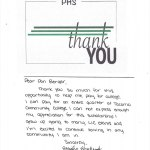 Emily Ehrhardt thank you letter to Longbranch Foundation June 2019