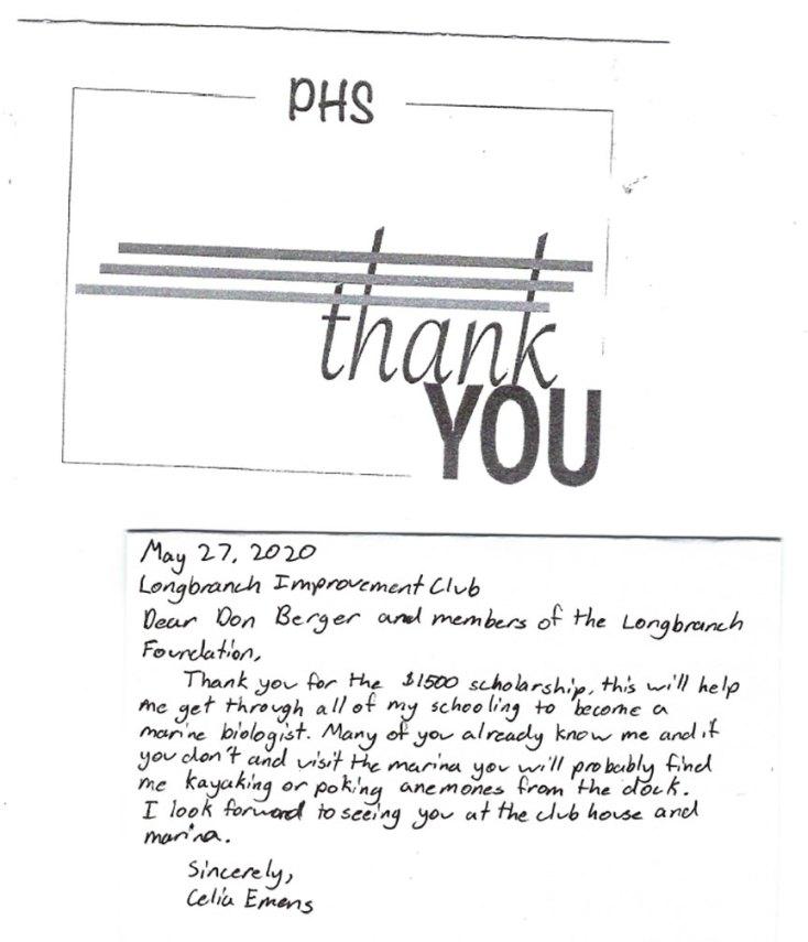 Celia Emens Thank you Letter