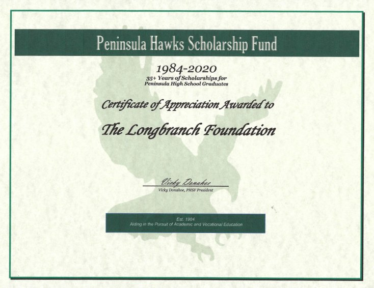 Longbranch Foundation Certificate of Appreciation from Peninsula Hawks Scholarship Fund 2020