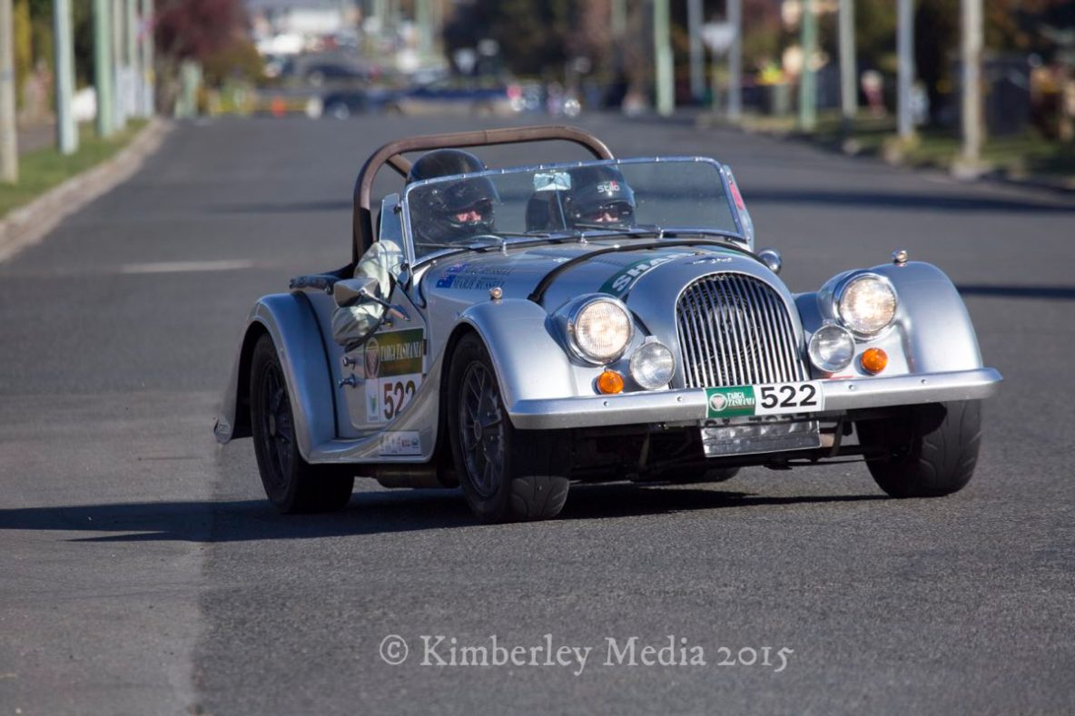A vintage competitor in Targa Tasmania passes the Church corner in Longford on day 3 of the internationally renowned motorsport event.