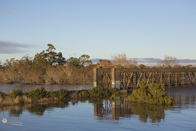 Railway bridge under water.