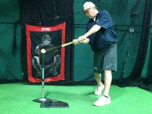 training with a batting tee