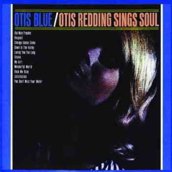 The album cover for Otis Redding's Otis Blue. The lettering is dark blue and pale orange and the image is a close-up of a person with blonde hair looking up into the distance.