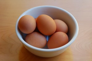 Hard boiled eggs in bowl