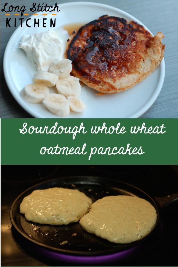 Sourdough whole wheat oatmeal pancake pin