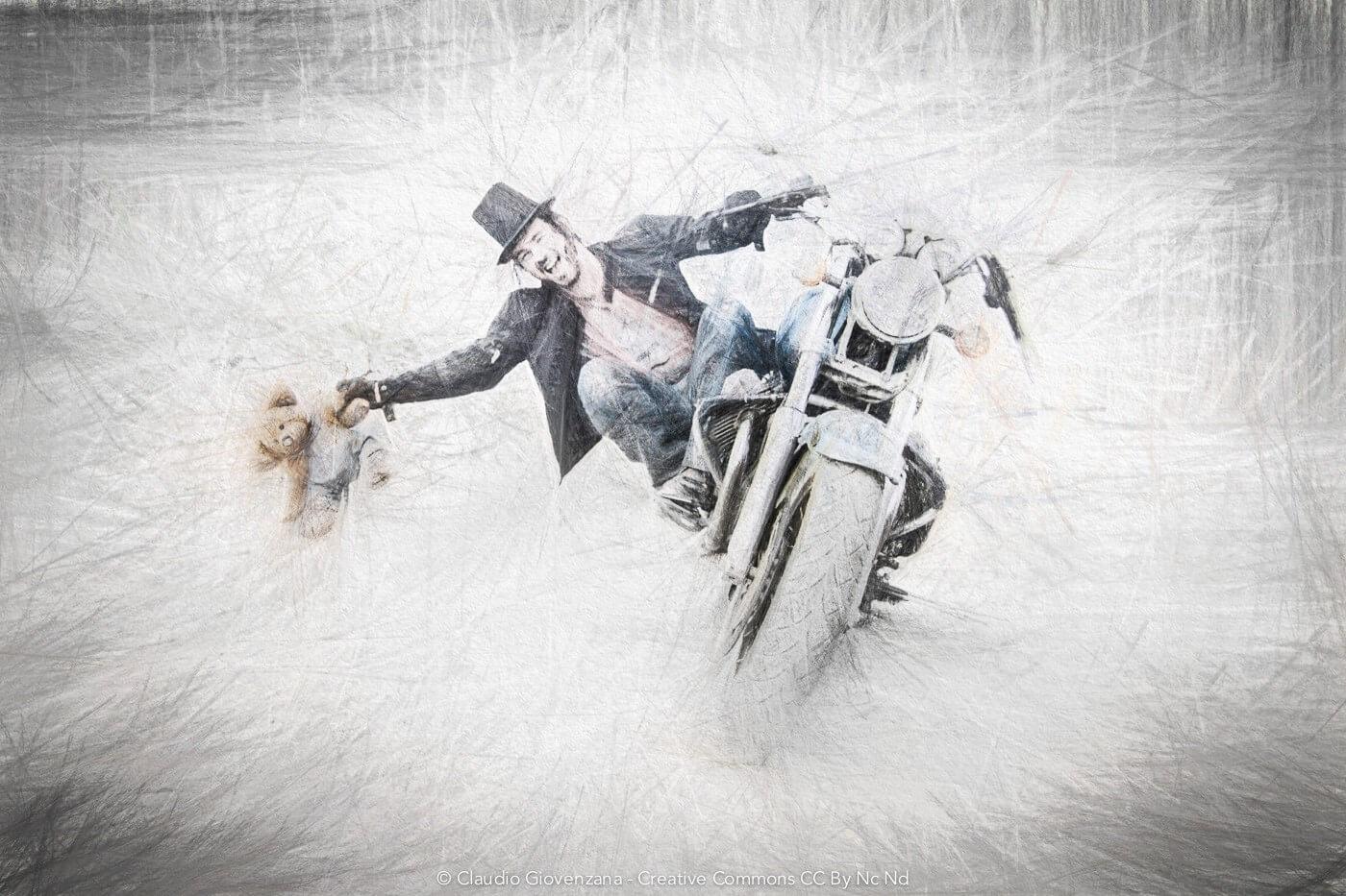 Claudio Giovenzana la motoguzzi e l'orsacchiotto