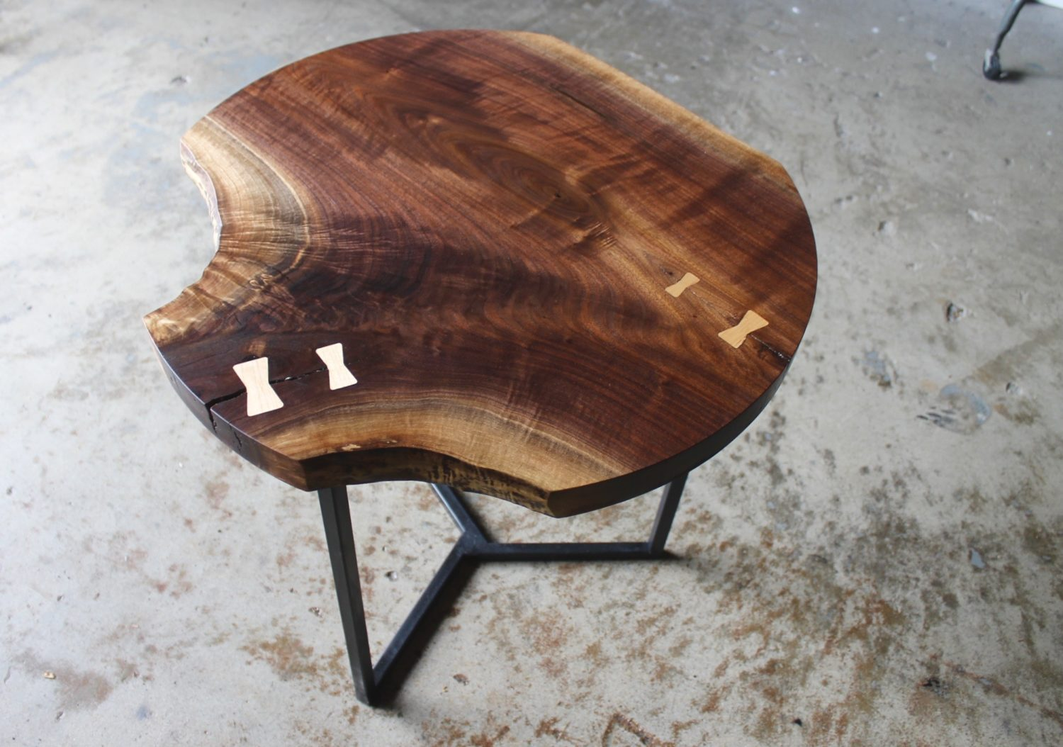 live edge round end table
