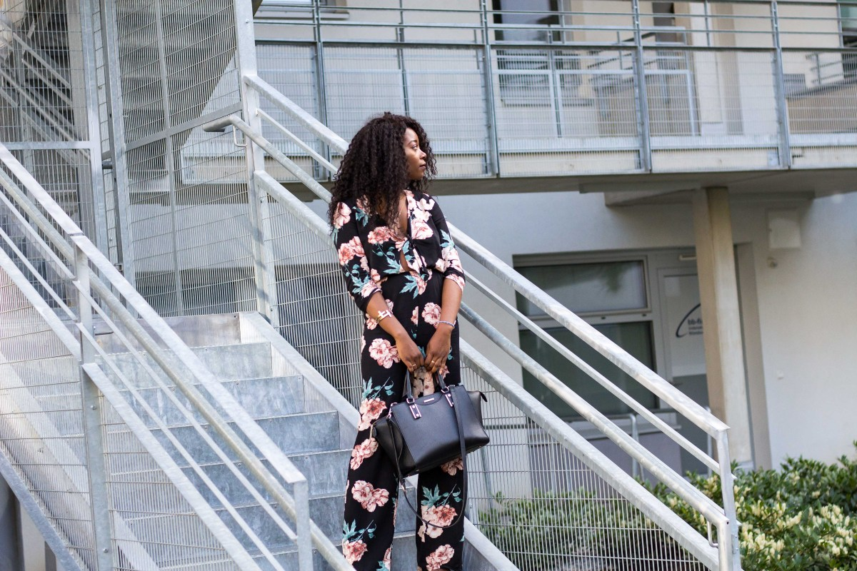 BLOGPARADE: 7 Styles with - Leather and Floral Print Jumpsuit Outfit