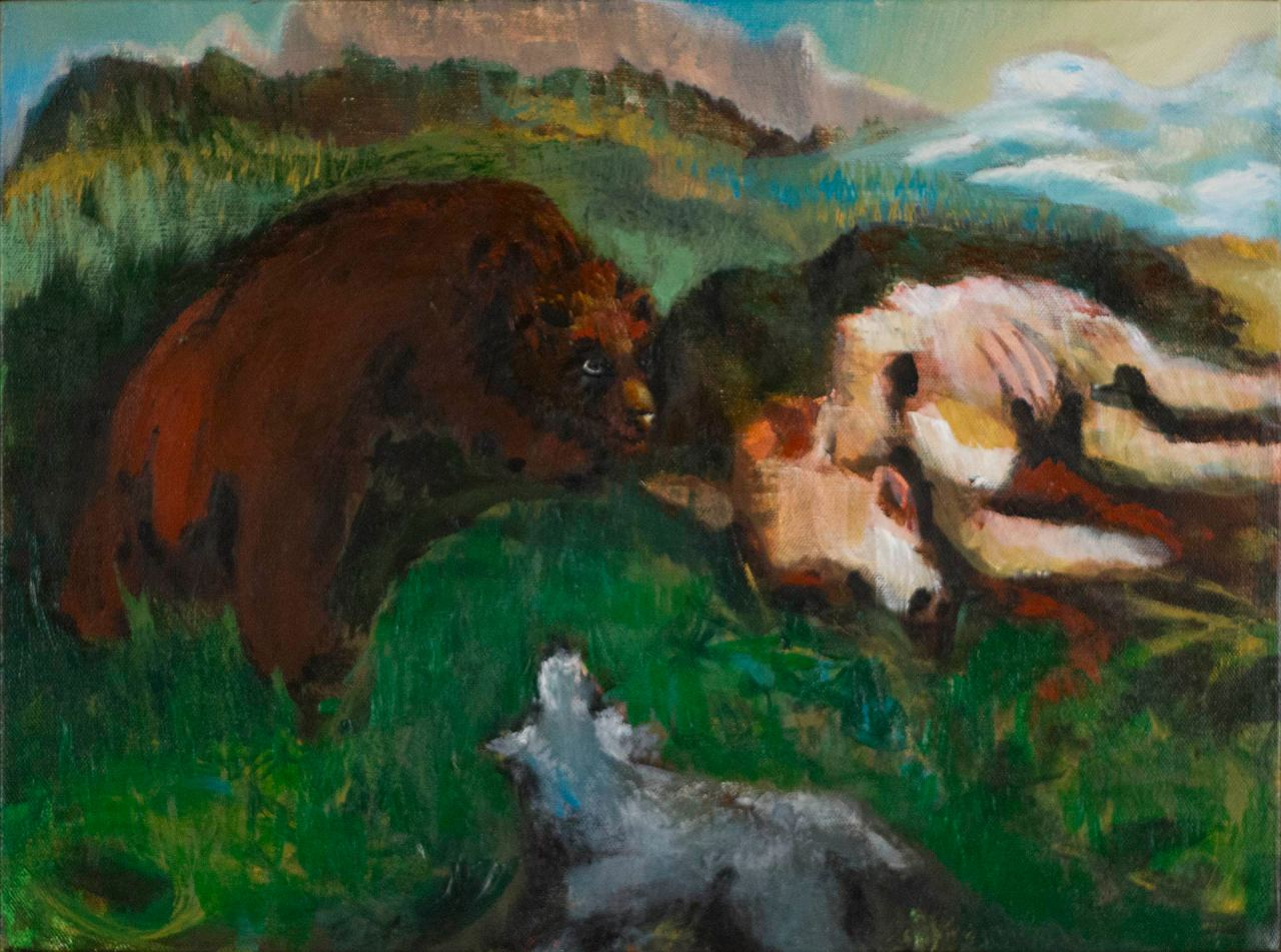 Small acrylic painting by Steve Miller, titled Alice, of a bear, dog, and carcass in a narrative, painterly landscape.