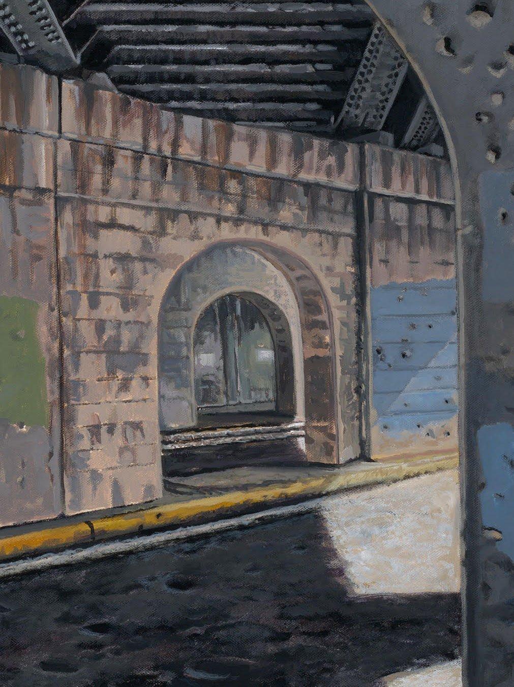"Detail, Ben Jamin, 48"" x 36"", acrylic on canvas, 3/28/19, © Steve Miller 2019"