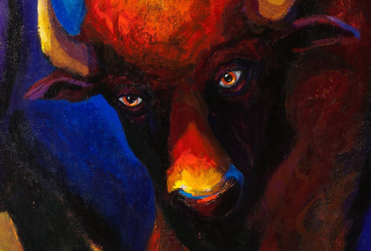 """Detail of a painting by Steve Miller titled, Brothers Bison, 50"""" x 34"""", acrylic on canvas, completed 3/19/13, © Steve Miller 2013"""