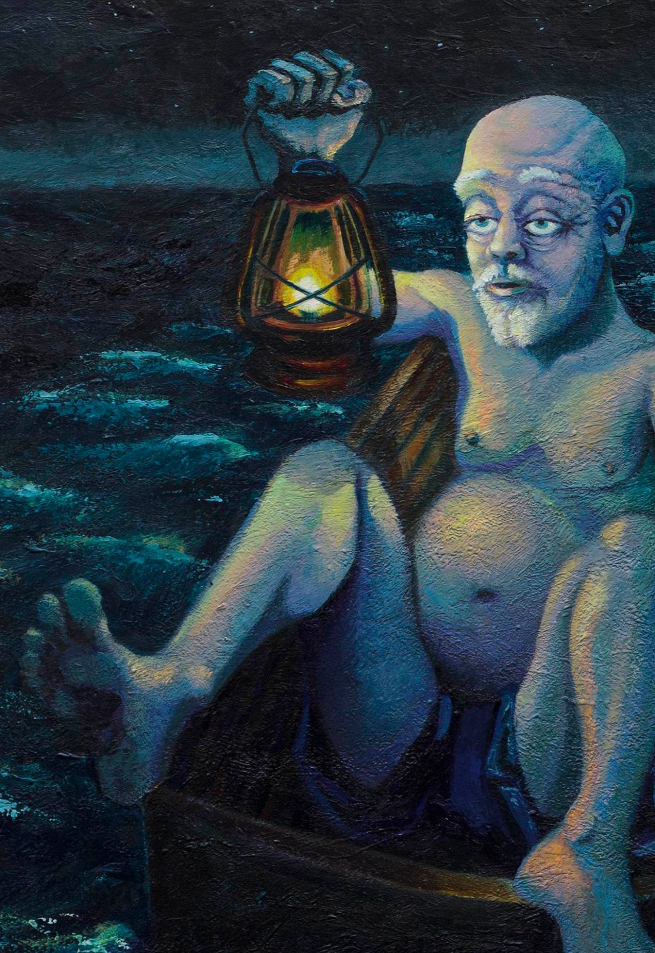 """Detail of a painting by Steve Miller titled Fat Man Little Boat, 34"""" x 50"""", acrylic on canvas, completed 10/1/14 © Steve Miller 2014"""