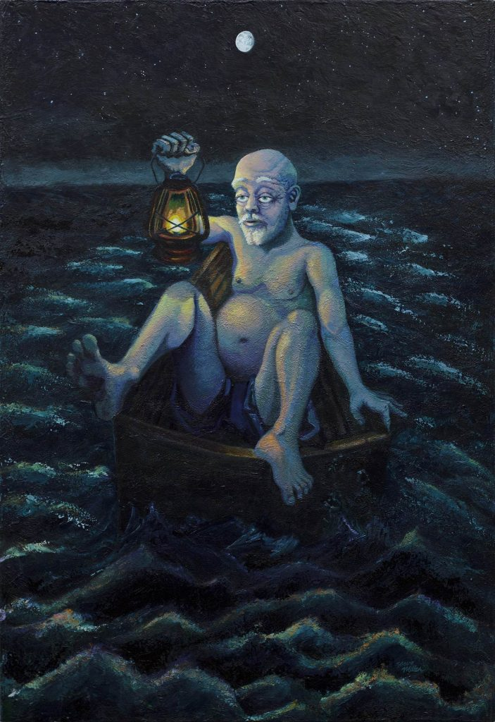 "Image of a painting by Steve Miller titled Fat Man Little Boat, 34"" x 50"", acrylic on canvas, completed 10/1/14 © Steve Miller 2014, featuring an older large white male, nearly naked, sitting in a tiny rowboat in the middle of the sea, at night, holding a lantern."