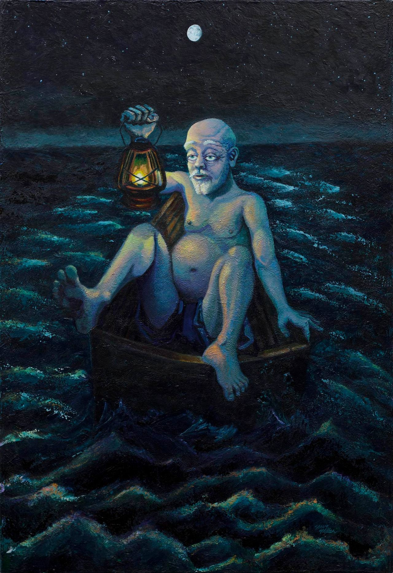 """Image of a painting by Steve Miller titled Fat Man Little Boat, 34"""" x 50"""", acrylic on canvas, completed 10/1/14 © Steve Miller 2014, featuring an older large white male, nearly naked, sitting in a tiny rowboat in the middle of the sea, at night, holding a lantern."""