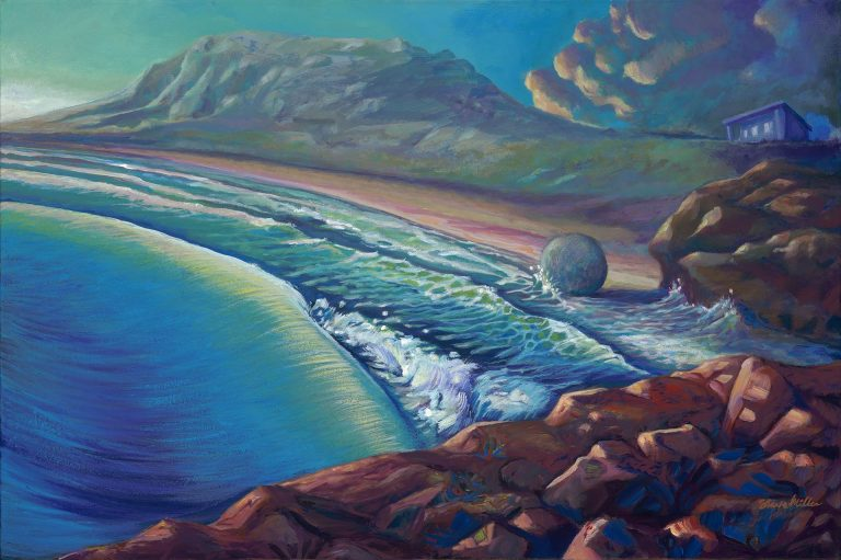 Acrylic landscape painting by Steve Miller of a bluff overlooking a beach, a plateau, a ball, and a small building on a hill.