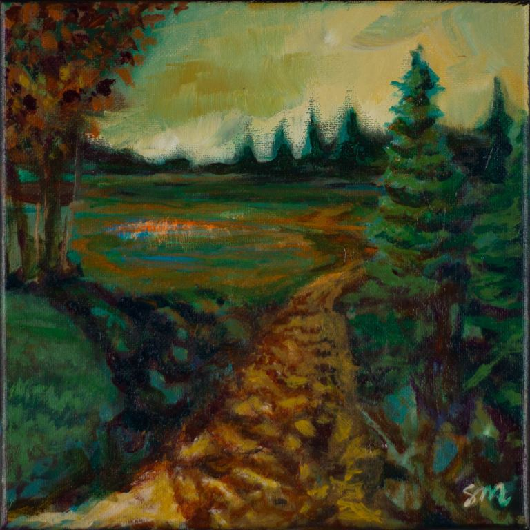 Small acrylic imaginary landscape painting by Steve Miller titled Out of the Woods.