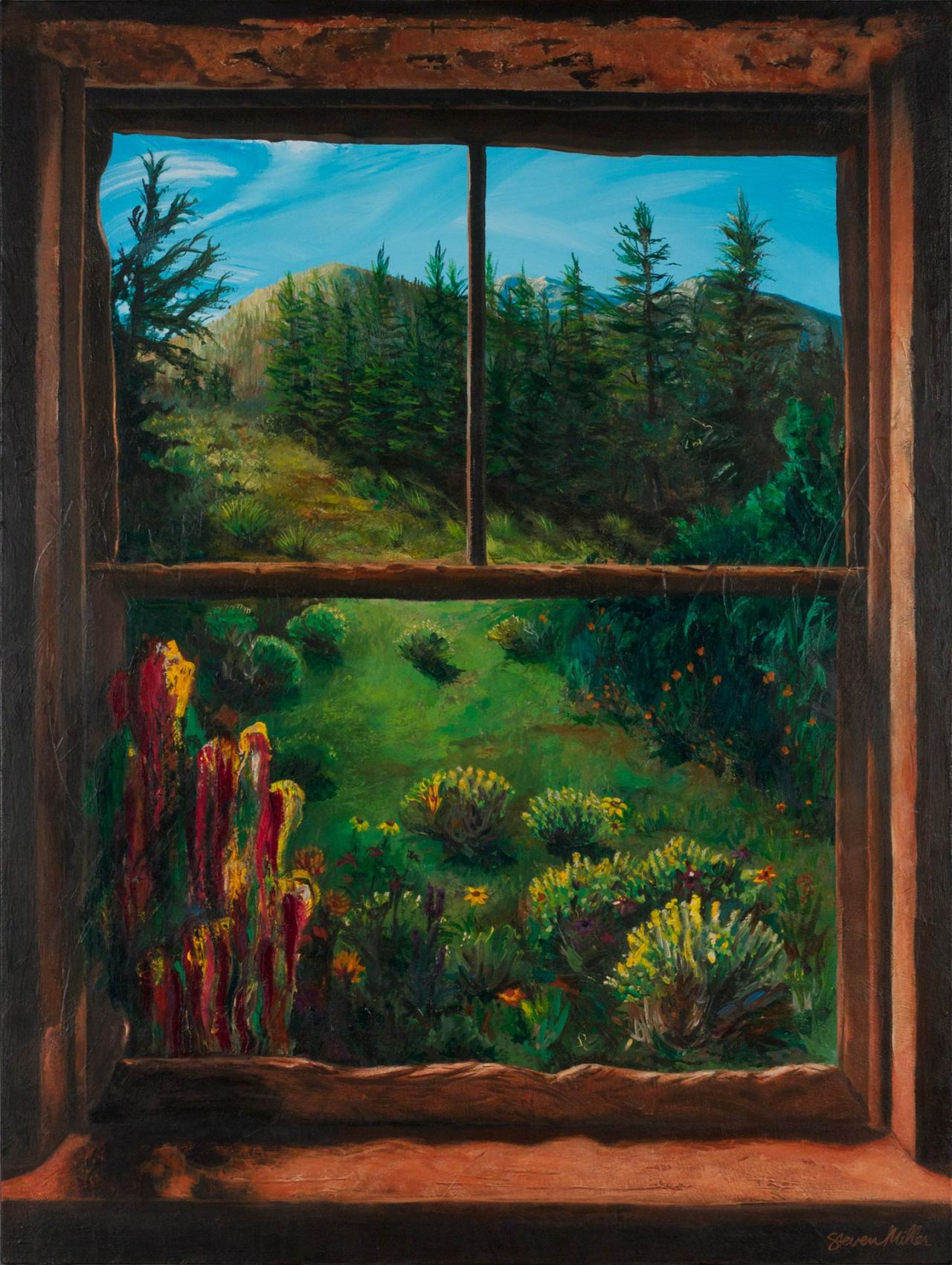 """Image of a painting by Steve Miller titled Room With A View, 30"""" x 40"""", acrylic on canvas, completed 10/8/13 © Steven Miller 2013"""