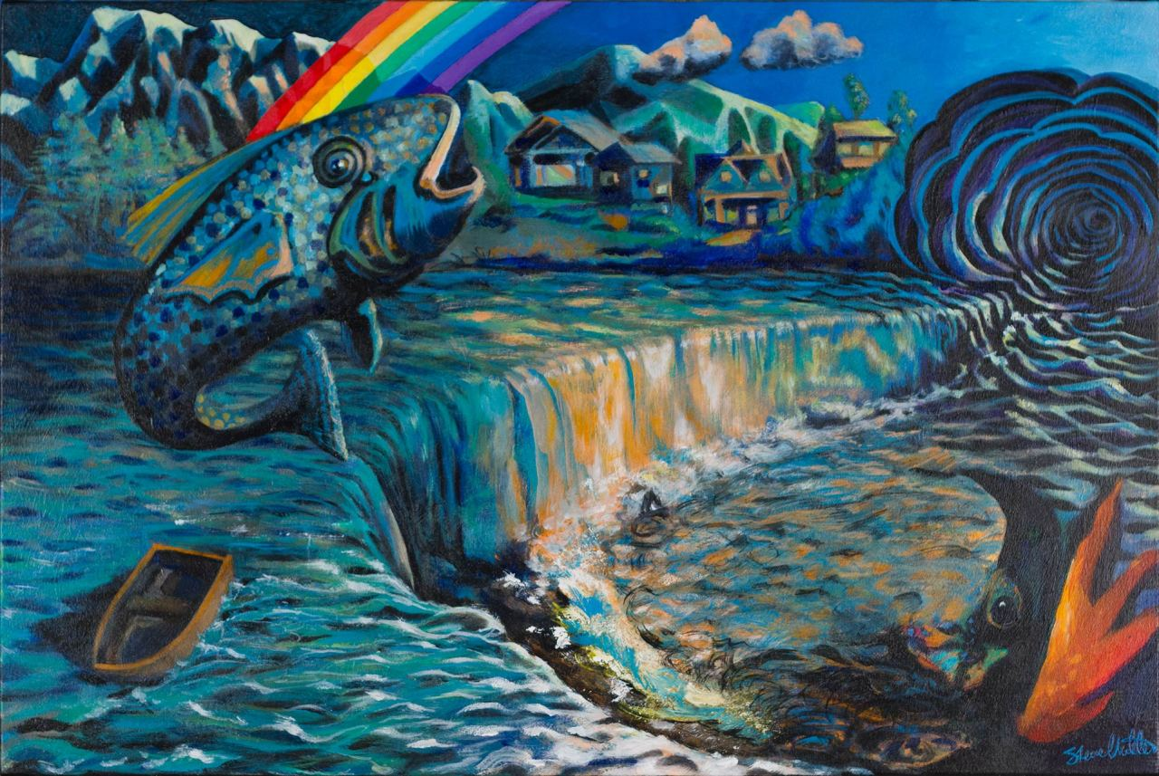 Acrylic landscape painting by Steve Miller of Rainbow, Fish, Rowboat, Waterfall, and Portal.